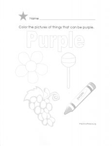 Color pictures of things that can be purple