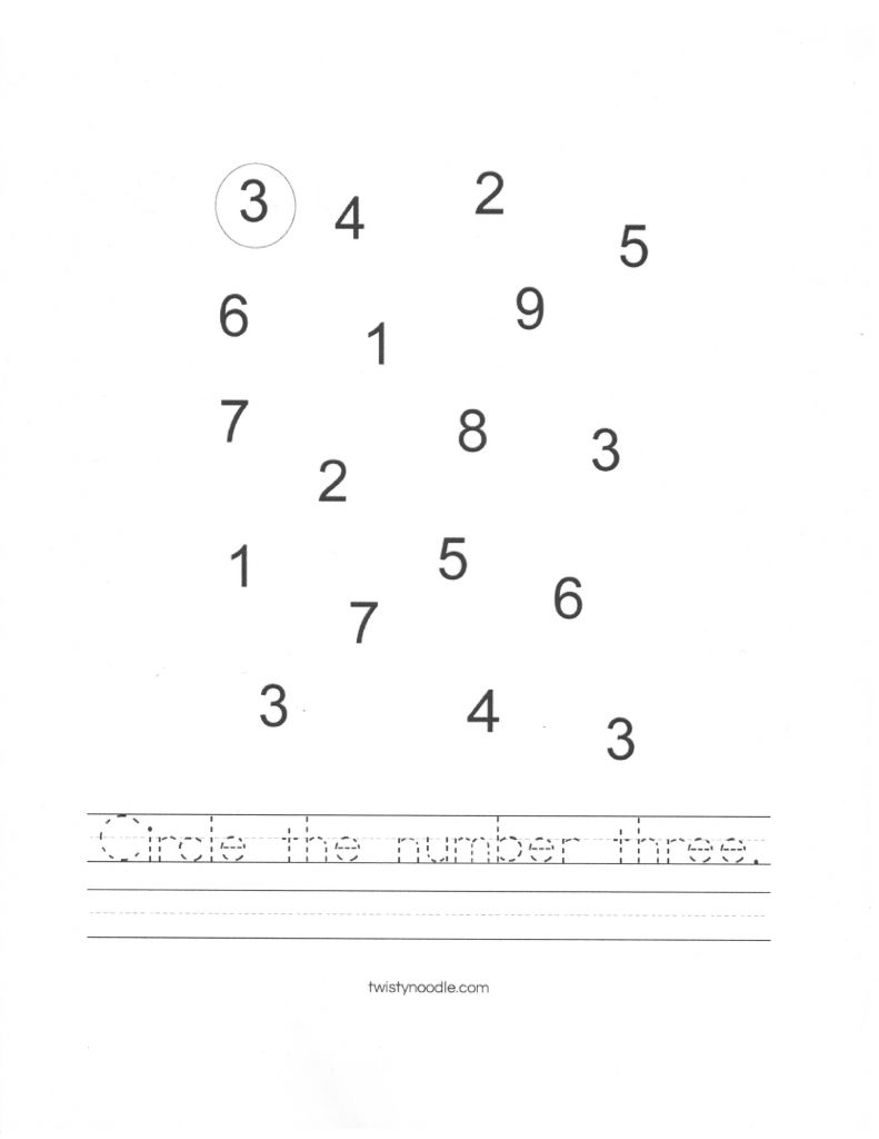 Circle the number 3
