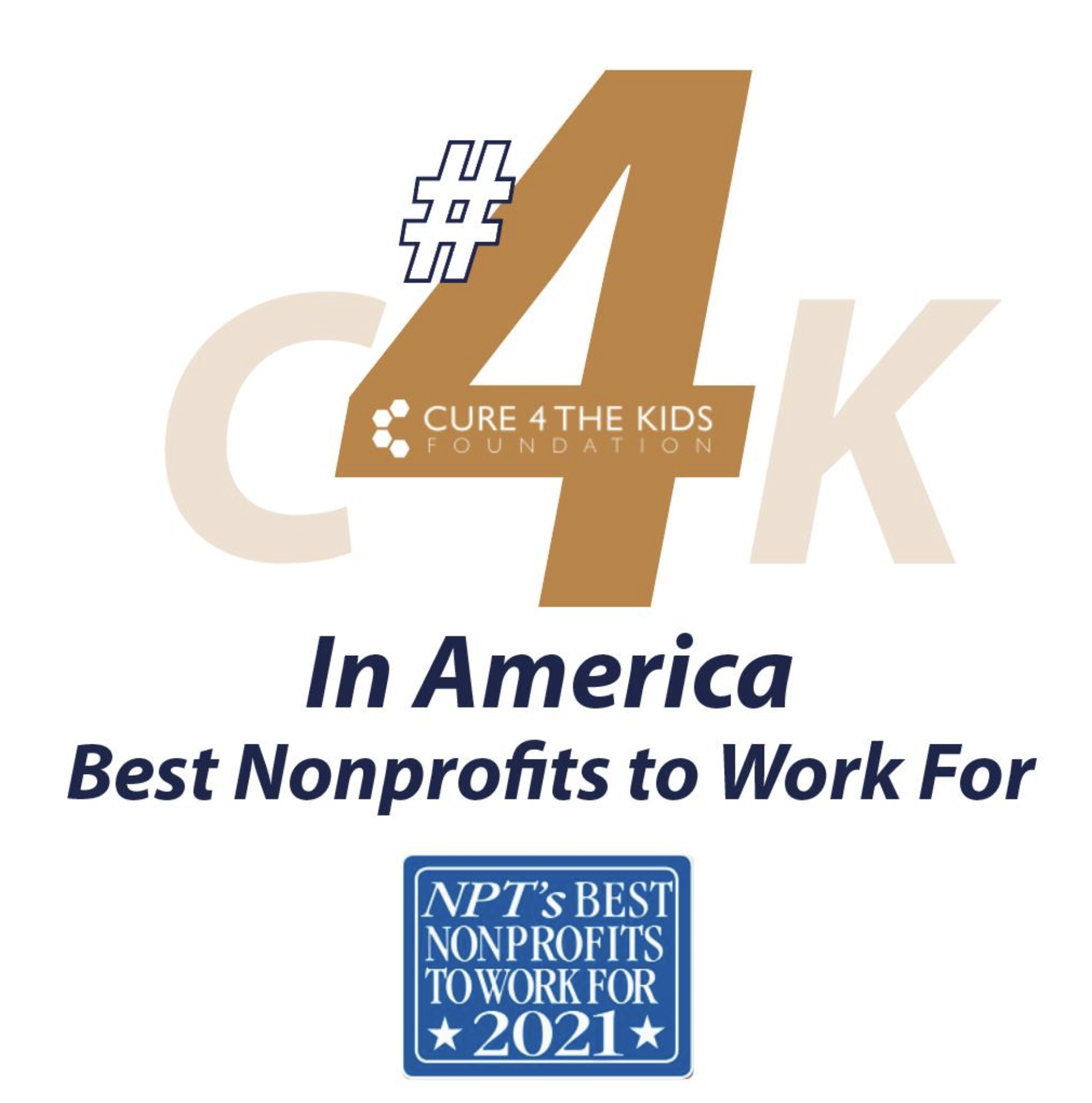 Cure 4 The Kids Foundation Ranks No. 4 Among Best Nonprofits to Work For